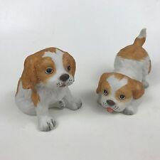 Homco 1407 Cocker King Charles Spaniel Playful Puppy Dog Figurine Pair Set 2 Lot