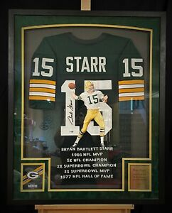"""Bart Starr Green Bay PACKERS """"Hand Painted"""" Autographed Jersey 1/1 Framed"""