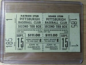 9-15-1967 PIRATES Un-Used TICKET STUB Willie Mays HR Mccovey 2-HR Perry WIN