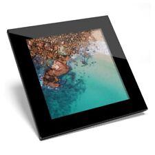 Glass Coaster  - Clear Blue Sea Rocks Beach  #44624