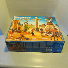 playmobil 5247 western set,  teepee, figures, wolf, fire pit, totem
