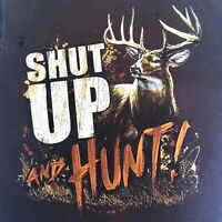 Buck Wear Men's T-Shirt Shut Up and Hunt Brown Short Sleeve Back Graphic