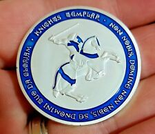Knights Templar coin, Soldier of Christ Deus Vult special forces blue