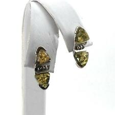 Sterling Silver Green Amber Post Back Earrings