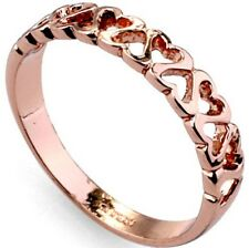 Rose Gold Plated Hollow Love Heart Ring Wedding Tail SZ 5 6 7 8 9 Child Jewelry