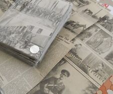 50 A5 Sheets Reclaimed Vintage War Illustrated  Decoupage Paper