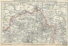 ROUBAIX TOURCOING Lille Industriegebiet LANDKARTE 1894