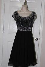 NEW J Laxmi Women's Black/white/silver-14 - Beaded Babydoll Cocktail Dress
