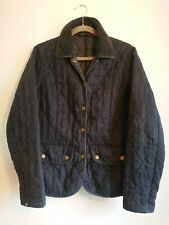 Ladies Barbour Wynchwood Washed Navy Blue Linen Quilted Jacket Size UK 10 EU 36