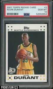 "2007-08 Topps #2 Kevin Durant Supersonics RC Rookie PSA 10 "" PACK FRESH """