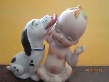 "KEWPIE & Dalmatian Dog Figurine Adorable baby Porcelain Collectable 3"""
