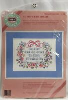1989 NIP Dimensions Stamped Cross Stitch Embroidery Kit To Love & Be Loved 8237F