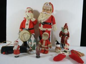 (9) 1900's To 1950's Christmas Santa Claus Dolls And Decorations
