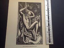 1950s ART DECO incisione su legno stampa scimmiesco ESTASI DA LEON Underwood: Scimmie