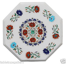 """12"""" White Marble Top Coffee Table Carnelian Lapis Floral Inlay Home Decror H2315"""