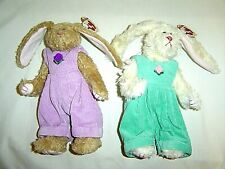 """Ty Rabbits Pair Iris, Ivy 8"""" tall Movable Arms Legs Attic Treasures New w/ Tags"""