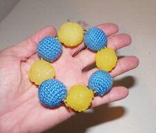 TARINA TARANTINO CHUNKY YELLOW & BLUE BEAD STRETCH BRACELET