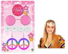 60s 70s Hippie Kit Round Glasses Necklace Headband Earrings Hippy Fancy Dress