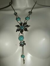Turquoise Cabochon Rhinestone Silver Lariat Floral Fashion Necklace NEW