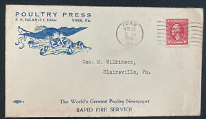 1921 York PA USA Advertising Cover To Blairsville Poultry Press Newspaper