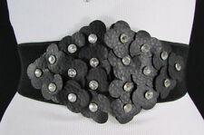 Women Black Elastic Fashion Wide Belt Waist Hip Multi Bling Flowers Buckle S M