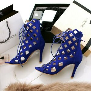 Summer Banquet Sexy High Heels Sandals Peeptoe Hollow Lace Up Shoes Party Mode