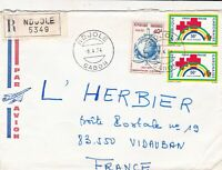 French Colonies Regd Air Mail 1974 Red Cross & Interpol Stamps Cover Ref 44708