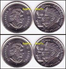 4x CANADA 2005 CANADIAN QUARTER 2ND WORLD WAR VETERAN QUEEN 25 CENT COIN LOT