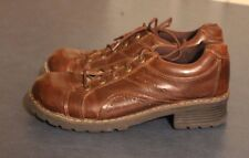 MELROSE AVE Womens Brown Faux Leather Chunky Heel Hiking Oxford Shoe 9,  71202