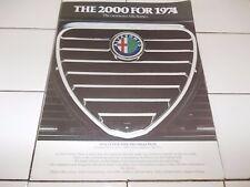 1974 ALFA ROMEO 2000 ORIGINAL Consumer Information Fold Out Leaflet