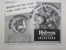 11/1946 PUB HOBSON BRISTOL HERCULES 230 ENGINES MASTER CONTROL INJECTOR AD