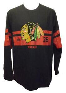 New Chicago Blackhawks Mens Sizes M-L-XL-2XL CCM Black Long SleeveShirt $45