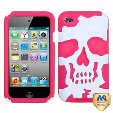 for iPod Touch 4th Gen - PINK WHITE SKULL Hard & Soft Rubber Impact Hybrid Case