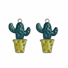 Pack of 10 Enamel Plated Cactus Look Charms Pendants 26x16 MM Crafts Accessories