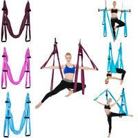 Yoga Swing Hammock Trapeze Sling Aerial Silks Set Anti-gravity Inversion Fitness