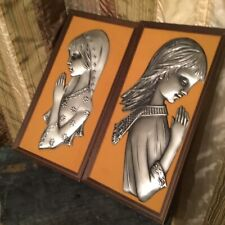 Mid century Modern Hammered Pewter Relief Girls  Wall Art 1970s