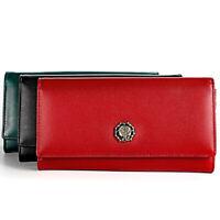 100% Genuine Leather Women's Long Clutch Wallet RFID Blocking Credit Card Holder