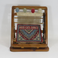 """Vintage Miniature Wooden Turkish Rug Loom w Welcome Weaving 12"""" tall x 11"""" wide"""
