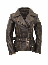 Ladies Black Rub off Distress Leather Quilted Belted Military Vintage Biker Coat