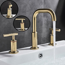 Brushed Gold 8 inch Widespread Bathroom Basin Faucet Two-Handle 3 Hole Mixer Tap