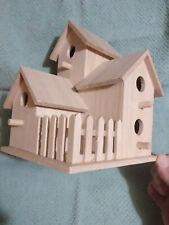 Bird House - Free Shipping - Unfinished Wood - Multi Level With Picket Fence