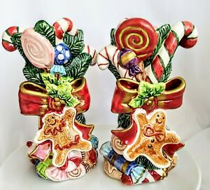Vintage Fitz And Floyd Candlesticks Christmas Gingerbread & Candy Made in  1996