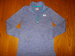 UNDER ARMOUR HEAT GEAR 1/2 ZIP LONG SLEEVE PURPLE TOP GIRLS LARGE EXCELLENT COND