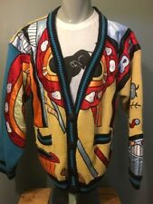Vtg 80s 90s No! Jeans Knit Cotton Abstract Cardigan Mens L-XL Ugly Sweater Wild