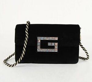 Gucci Broadway Black Velvet Black/Gold Rope Strap Crossbody Bag 544242 8005