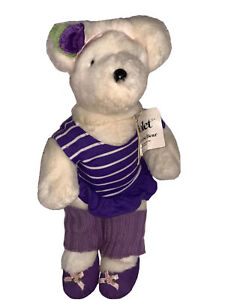"""Vintage 1984 North American Bear Co. 14"""" Violet The Exercise Bear"""
