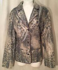 Chicos Jacket Dressy Light Weight Button Up Collar Animal Print Gray & Tan Sz XL