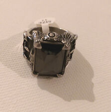 Men's Stainless Steel Black Stone Claw  Ring: Size 11