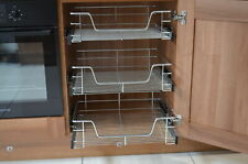 PULL OUT WIRE BASKET KITCHEN CABINET BASE UNIT LARDER CUPBOARD SOFT CLOSE CHROME