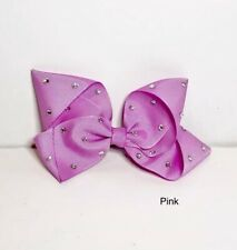 """Pink Large Hair Bow - 5"""" Girls Big Fashion. With Gems, Girls Gift Ideas"""